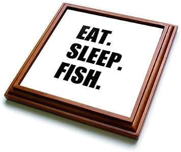 trv_180403 InspirationzStore 吃睡系列 - 吃睡鱼 - 送给钓鱼爱好者和渔民的有趣文字礼物 - Trivets 棕色 8 到 8 英寸 trv_180403_1