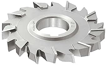 "KEO Milling 03153 交错齿形铣刀,""S""风格,2.22 厘米宽,3.81 厘米轴孔,32 齿,25.4 厘米切割直径,HSS,TiN 涂层,标准切割"