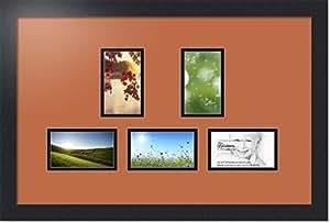ArtToFrames 拼贴照片框双垫,带 5 个开口和黑色缎框。 红色 橙色 5-3x5 Double-Multimat-994-693/89-FRBW26079