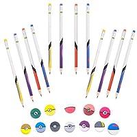 Totem World Poke Ball 主题铅笔和橡皮擦 - 12 支装 - 彩色数字 2 铅笔和 1 英寸大橡皮擦 - 12 个儿童口袋妖怪派对礼物