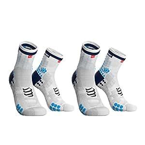 Compressport 中性 两双装马拉松越野跑跑步户外运动袜3D豆豆袜高帮袜V3.0版 CS-RSHV3-00BL-T1+CS-RSHV3-00BL-T1 白底蓝点+白底蓝点 T1