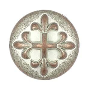 Bezel 10 颗巴洛克十字架金属柄纽扣。 20毫米 Copper White Patina 20mm MTN1461