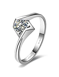 THREE MAN 0.6CT Angle Kiss Solitaire 订婚戒指 女式 925 纯银 NSCD 仿钻戒指
