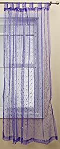1888 Mills Groovy 50-inch-by-84-inch Single Tab-Top Panel Sheer with Sequins, Purple