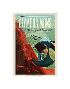 Wee Blue Coo Space X Travel Advert Olympus MONS 30.48x40.64 cm 带框艺术印刷品 F12X11833 印花 15.99 x 12.01 inc - 40.6 x 30.5 cm F12X11833_UF