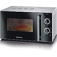 Severin MW 7875 2合1微波爐(700瓦,具有燒烤功能,包括烤架和轉盤,24.5厘米)銀/黑色