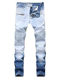 qazel vorrlon 男式机车骑手做旧破洞时尚修身牛仔裤