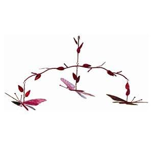 古老涂鸦蝴蝶吊杆,红色