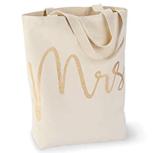 Mud Pie 4485034 Wedding Mrs. Canvas Tote Bag,Mrs