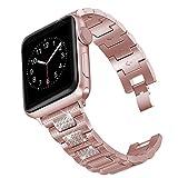 hooroor 闪亮表带兼容苹果手表腕带 38mm 40mm/42mm 44mm iWatch 系列4 3 2 1 女士男士,钻石水钻不锈钢金属替换腕带