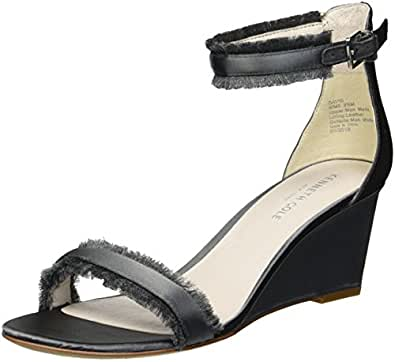 Kenneth Cole New York Davis 女士坡跟凉鞋带脚踝绑带 深灰色 9 M US