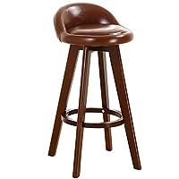 北美欧式时尚休闲布艺吧台椅高脚凳 咖啡厅酒吧椅子 (棕色皮面)