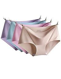 DaiQimi 黛琪迷 4条装自选性感无痕大码冰丝内裤女一片式纯色舒适三角裤