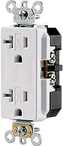 20 安培商业级装饰器双面电容器 - 125 伏双极 三线 NEMA 5-20R 防篡改直刀片自拆除背和侧线钢带 - 白色(布线设备)