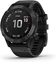 Garmin 佳明 Fenix 6 GPS 多功能智能手表 手腕處測心率 黑色 / 黑色 M