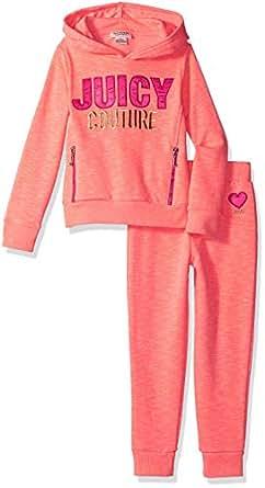 Juicy Couture 橘滋 女童连帽衫裤子 2 件套 Heather 珊瑚色 2T