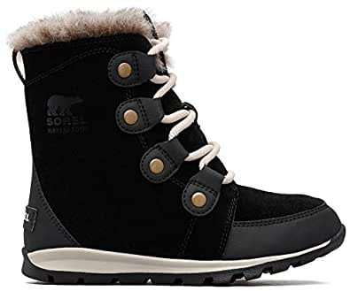 Sorel Girls' Youth Whitney Suede Mid Calf Boot, Black, Dark Stone, 5 M US Big Kid