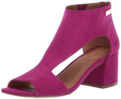 Kenneth Cole REACTION 女士混合镂空 T 形绑带高跟凉鞋 紫红色 9.5