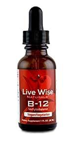 100%美国生产、瓶装 ! 维生素B12 (维他命) 液体舌下滴液,纯素,非转基因,甲钴胺,更易被人体吸收。60 份(1盎司)。可调整剂量。