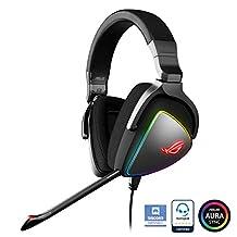 华硕 ROG Delta USB-C 游戏耳机,适用于 PC、Mac、Playstation 4、Teamspeak和Discord with Hi-Res ESS Quad-DCAC、数字麦克风和 Aura Sync RGB 照明