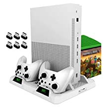 OIVO 冷卻支架,適用于 Xbox One/S/X,2 個冷卻風扇,雙控制器充電基座,帶 LED 指示燈和 15 個游戲插槽,適用于 Xbox One/S/X