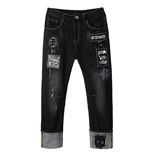 GENANX闪电潮牌磨白牛仔裤黑色猫爪涂鸦合体直筒休闲裤青年潮流