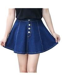 Gihuo 女式休闲前纽扣牛仔 A 字型褶皱迷你牛仔裙