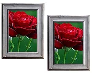 Harmony Frames 实木经典相框画廊展示墙和桌面 石蓝色 5x7, Pack of 2