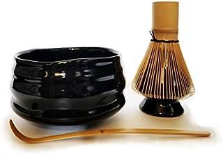 HARU MATCHA - Complete Matcha Tea Ceremony 礼品套装 - Black Matcha Chawan 碗,金竹勺(Chashaku),竹子 Whisk (100 吨)和黑色搅拌器