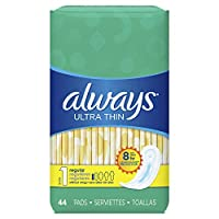 Always Ultra Thin Regular Without Wings, Thin Pads 44 Count (Pack of 3)