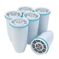 ZEROWATER 替换过滤器 6件装 无BPA替换水过滤器 NSF认证的净水器罐和分配器的滤水器,可减少铅和其他重金属