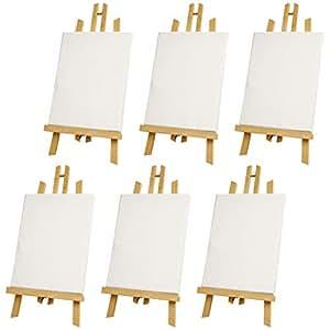 "US Art Supply 45.72cm 大型桌面显示屏 A 框架艺术家画架(1 包) 18"" Large Easel & 11X14 Canvas - 6-each E-133-11X14-6PK"