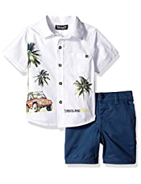 Timberland 添柏岚男孩 2 件套衬衫短裤套装