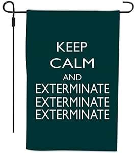 Rikki Knight Keep Calm and Exterminate SM 设计装饰房或花园全血旗,30.48 x 45.72 厘米,绿色