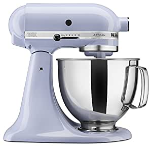 KitchenAid KSM150PSLR 搅拌机  Artisan 系列 5夸脱(约4.73升)带浇注罩的立式搅拌机-薰衣草奶油色 需配变压器