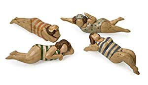 "IMAX 5H 英寸 Bathing Beauties in Natural Wood - 4 件套 多种颜色 4-4.5-5""h x 11.5-12-15""w x 3-3.25"" 22000-4"