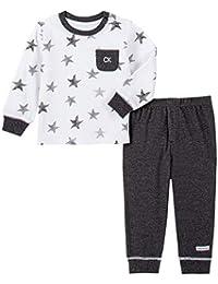 Calvin Klein 男婴 2 件裤子套装 白色/黑色 0-3 Months