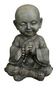 Hi-Line Gift Ltd 坐在佛子上可盛放一颗串串珠室内/室外装饰雕像