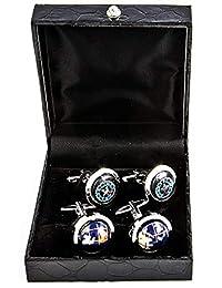 MRCUFF 旅行球和指南針旅行者飛行員 2 對袖扣,禮品盒和拋光布