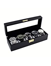 Caddy Bay Collection 经典黑色手表存储展示盒,带玻璃盒盖,可存放 5 只表