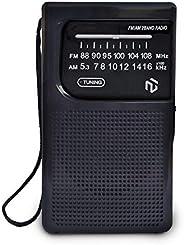 NT North Tech – *佳 AM FM 电池供电袖珍收音机 | *天线接收 | 便携式紧凑型晶体管收音机 | 电池供电(2 节 AA)| 长距离 | 耳机插孔 - 黑色