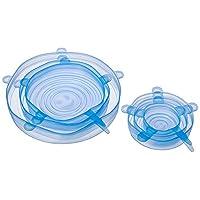 LETOOR 硅胶可重复使用耐用可扩展盖子,可用洗碗机清洗、冰箱和微波炉包装,8.3 英寸(约 21.6 厘米),蓝色