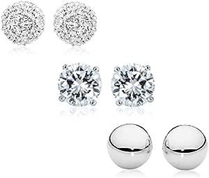 Peermont Jewelry 3 对 8mm 纯银和方晶锆石耳钉