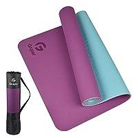 Gruper TPE 瑜伽垫,专业瑜伽垫,环保防滑健身运动垫,带背带,瑜伽、普拉提和地板锻炼用垫