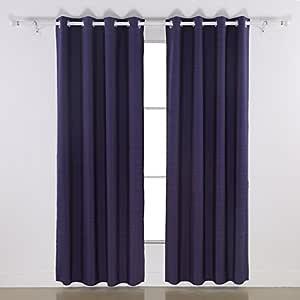 Deconovo 奢华木纹条纹设计提花窗帘适用于客厅 紫色 52x63 CT0188-1D
