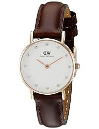 Daniel Wellington 丹尼尔·惠灵顿 优雅石英女士超薄镶钻手表 棕色皮革表带 DW00100062