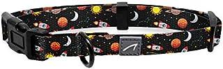 WIRESTER 可调节宠物项圈,适合小型中型犬,图案设计(1.52 厘米宽,25.4 厘米长) Dog Collar - Space Age Galaxy Black