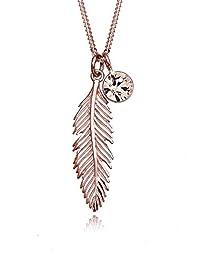 Elli 女士 925 纯银百灵切割水晶项链羽毛吊坠 Rose Gold 45 cm