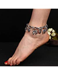 Asooll 波西米亚爱大象脚链金属球脚踝手链时尚夏季海滩*首饰套装适合女士和女孩
