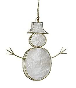 """海岸海滩圣诞卡普里装饰品 (3 件套),Seashell Company 航海 Xmass 假日装饰 米白色 Capiz Snowmen 3.5""""- Set of 3 6706"""